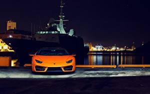 Fotos Lamborghini Vorne Orange Nacht Huracan 2016 LP 580-2