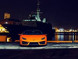 Fotos Lamborghini Vorne Orange Nacht Huracan 2016 LP 580-2