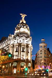 Hintergrundbilder Madrid Gebäude Spanien Straße Nacht Fährt Städte