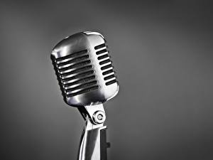 Image Closeup Mic Silver color Gray background