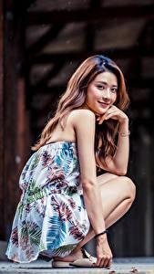 Fotos Asiatische Sitzend Lächeln Starren junge Frauen