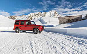 Wallpaper Mercedes-Benz Red Sport utility vehicle 2019 G 350 d AMG Line Worldwide