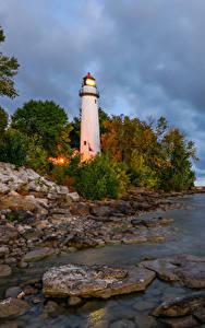 Fotos Vereinigte Staaten Küste Leuchtturm Steine Pointe Aux Barques Lighthouse Natur