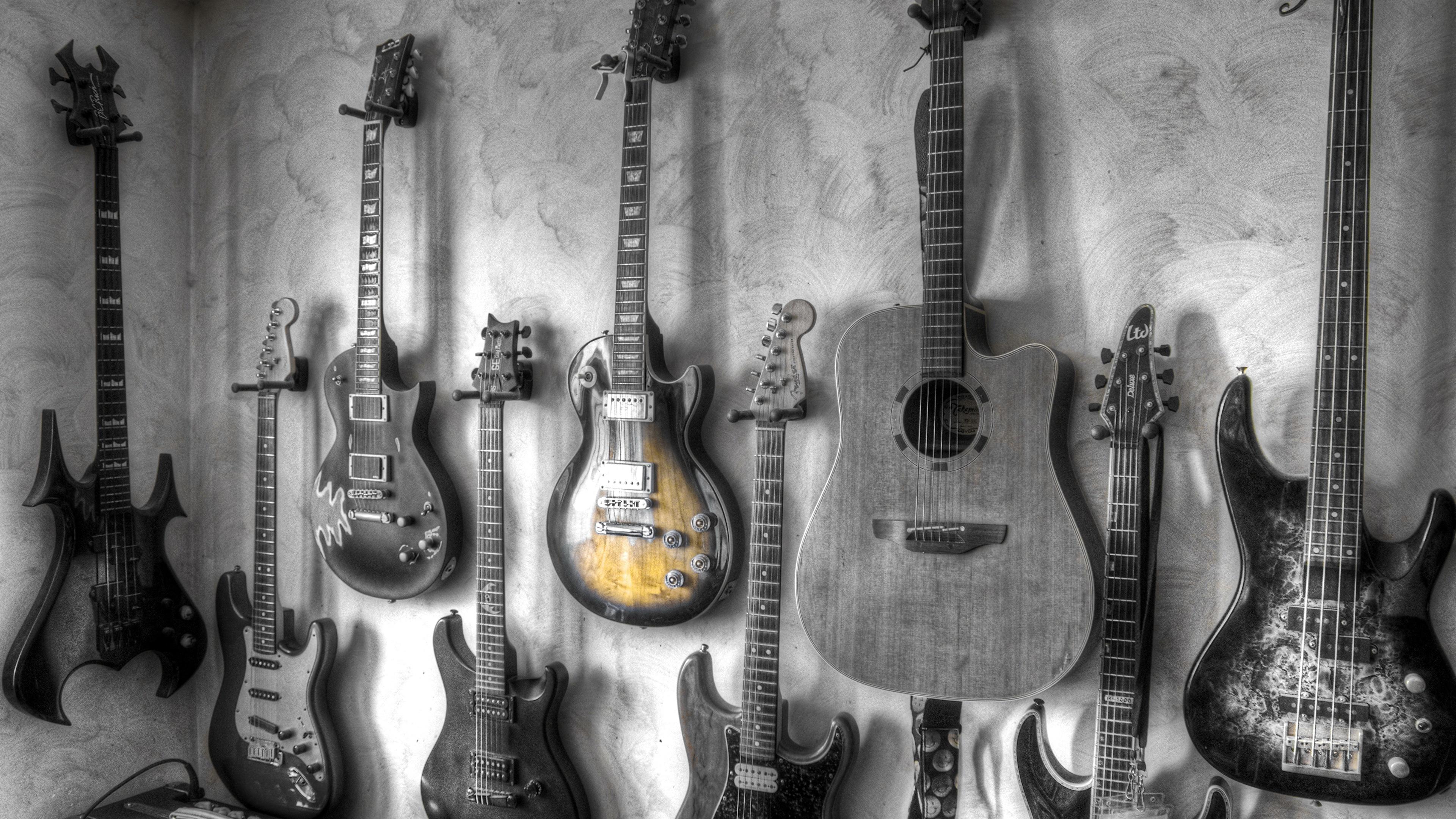 Photos Guitar Music Wall Black And White 3840x2160