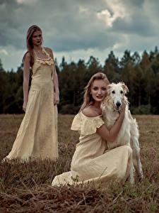Fotos Hunde Windhund 2 Blond Mädchen Kleid Mädchens