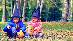 Hintergrundbilder Feiertage Halloween Kürbisse Zwei Junge Kleine Mädchen Der Hut Sitzen Kinder