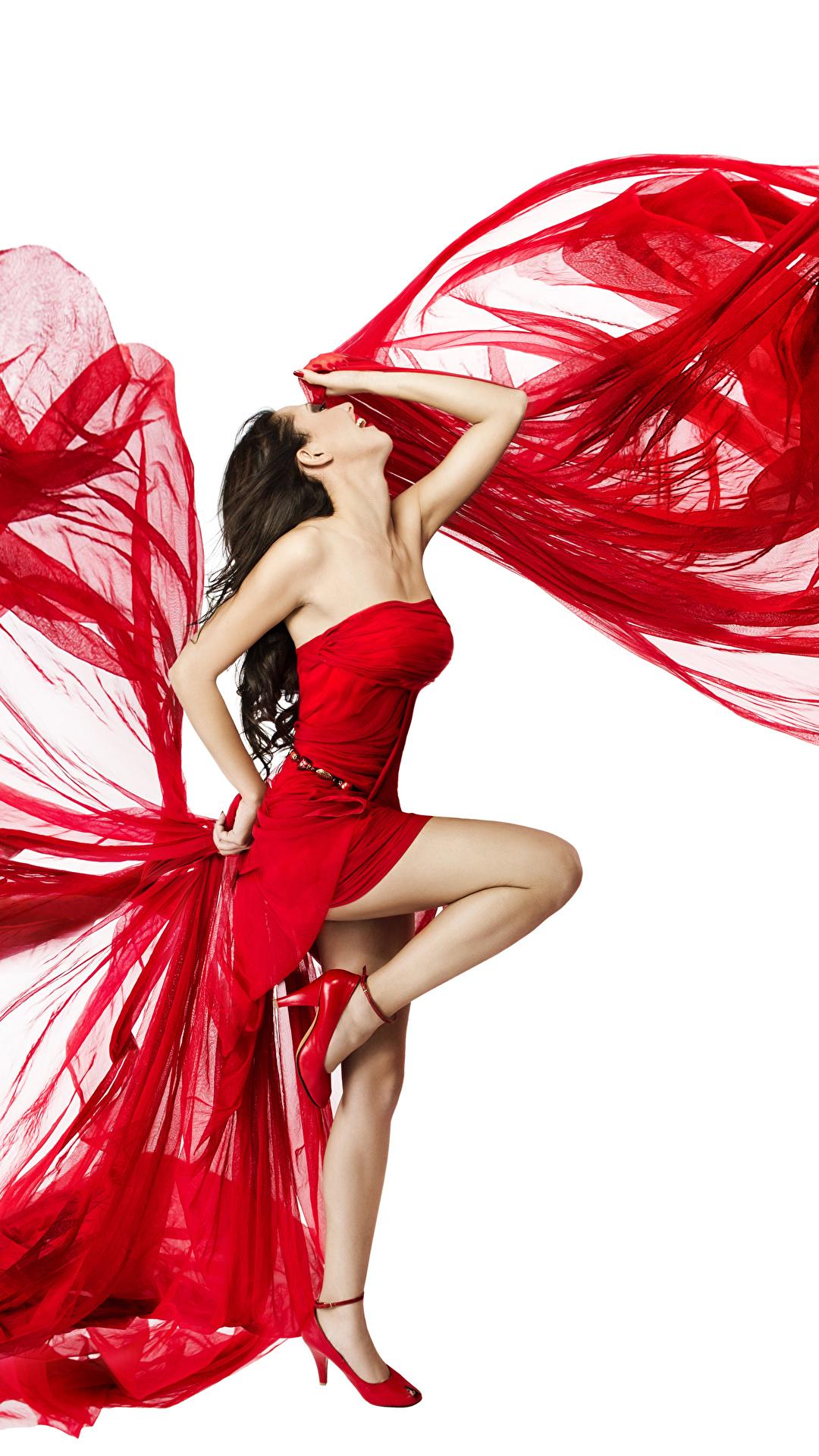 Hintergrundbilder Braune Haare Tanzen Mädchens Bein Weißer hintergrund Kleid 1080x1920 Braunhaarige Tanz