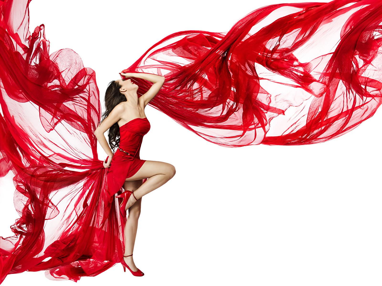 Hintergrundbilder Braune Haare Tanzen Mädchens Bein Weißer hintergrund Kleid 1600x1200 Braunhaarige Tanz