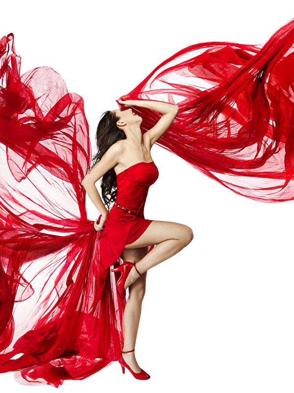 Hintergrundbilder Braune Haare Tanzen Mädchens Bein Weißer hintergrund Kleid 600x800 Braunhaarige Tanz