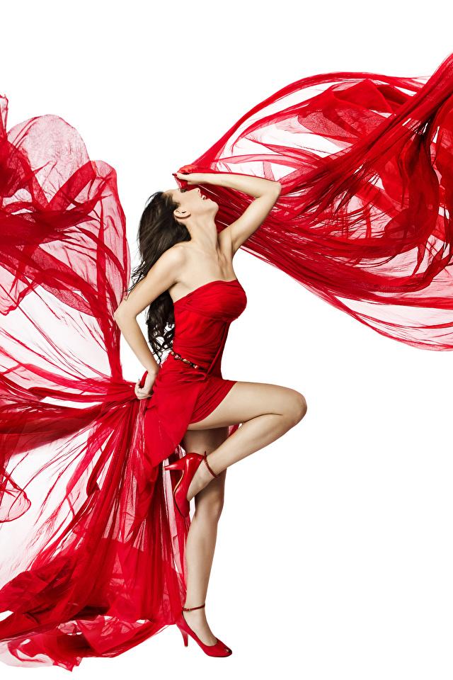 Hintergrundbilder Braune Haare Tanzen Mädchens Bein Weißer hintergrund Kleid 640x960 Braunhaarige Tanz