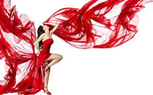 Bilder Weißer hintergrund Braune Haare Kleid Bein Tanzen