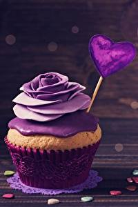 Bilder Cupcake Rosen Valentinstag Violett Herz Lebensmittel