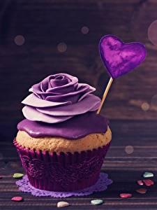 Papel de Parede Desktop Cupcake Rosas Dia dos Namorados Violeta cor Coração Alimentos