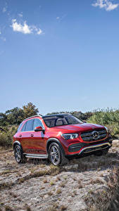 Bilder Mercedes-Benz Rot Sport Utility Vehicle 2020 GLE 450 4MATIC Autos