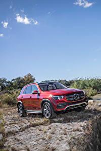 Bilder Mercedes-Benz Rot Sport Utility Vehicle 2020 GLE 450 4MATIC Autos