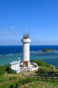 Fotos Leuchtturm Küste Japan Meer Zaun Natur