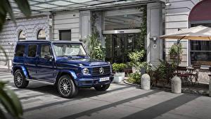 Fondos de Pantalla Mercedes-Benz Clase G Vehículo utilitario deportivo Azul Metálico 2019 G 400 d AMG Line Stronger Than Time Worldwide automóvil