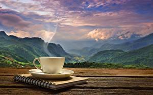 Hintergrundbilder Landschaftsfotografie Kaffee Gebirge Tasse Dampf Notizblock