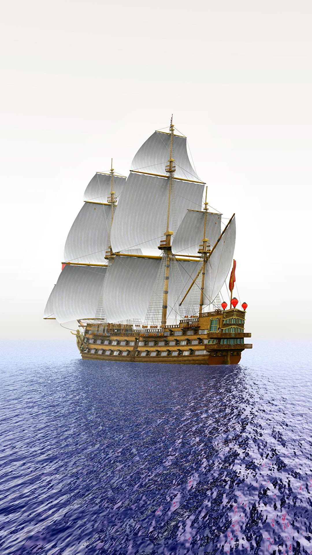 Hintergrundbilder Meer Sonne 3D-Grafik Schiffe Sonnenaufgänge und Sonnenuntergänge Segeln 1080x1920