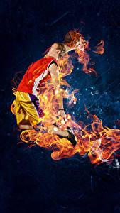 Hintergrundbilder Basketball Mann Flamme Sprung Sport