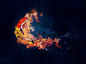 Hintergrundbilder Basketball Mann Flamme Sprung sportliches