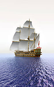 壁纸、、海、船、セーリング、朝焼けと日没、太陽、3Dグラフィックス