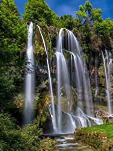 Fotos Frankreich Wasserfall Felsen Brochaux Waterfall Natur
