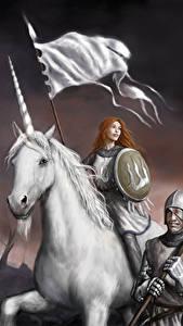 Fotos Krieger Einhorn Speer Schild (Schutzwaffe) Helm Fantasy Mädchens