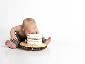 Pictures Cakes Boys Sit White background Children