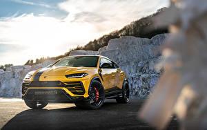 Fotos Lamborghini Gelb Metallisch Softroader Urus SSUV, 2020 Autos