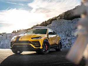 Desktop hintergrundbilder Lamborghini Gelb Metallisch Softroader Urus SSUV, 2020 Autos