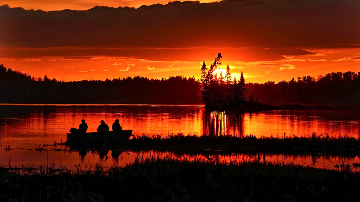 Pictures Nature Fishing Sunrises And Sunsets Boats Evening