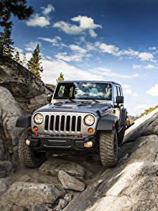 Picture Jeep Stones Cliff Front Grey 2017, Wrangler Unlimited Rubicon automobile