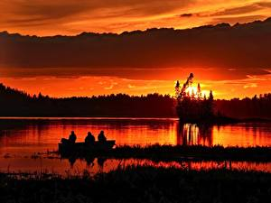 Picture Sunrises and sunsets Evening Fishing Boats Nature