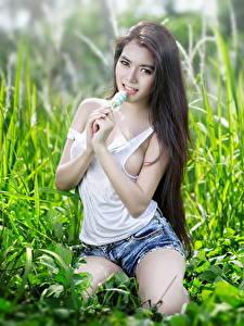 Fotos Asiaten Brünette Gras Blick Unterhemd Shorts Hand Pose junge frau