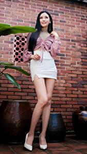 Bilder Asiaten Posiert Bein Rock Bluse Starren junge frau
