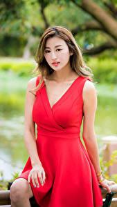 Fotos Asiaten Unscharfer Hintergrund Kleid Rot Braune Haare junge frau
