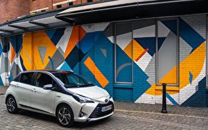 Hintergrundbilder Toyota Hybrid Autos Weiß 2019 Yaris Hybrid Y20 Autos