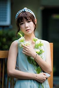 Fotos Asiaten Sträuße Bokeh Braunhaarige Starren Hand Mädchens