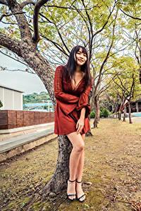 Bilder Asiaten Bäume Kleid Bein Dekolletee Lächeln junge frau