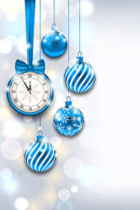 Pictures Christmas Clock Balls Light Blue