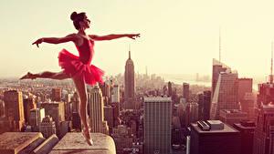 Fotos Tanz Uniform Hand Bein Ballett Dach Mädchens