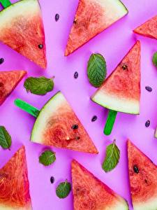 Fotos Wassermelonen Kreativ Stücke Lebensmittel