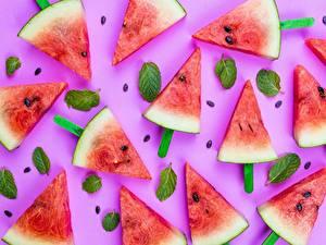 Fotos Wassermelonen Originelle Stücke Lebensmittel