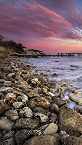 Bilder Sonnenaufgänge und Sonnenuntergänge Küste Steine Wasserwelle Natur