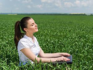 Hintergrundbilder Felder Braune Haare Hand Sitzend Mädchens