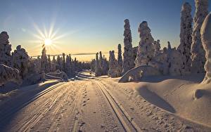 Pictures Finland Lapland region Sunrises and sunsets Roads Winter Scenery Sun Rays of light Snow