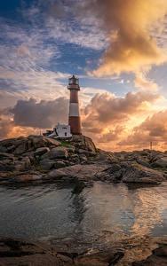 Hintergrundbilder Norwegen Leuchtturm Sonnenaufgänge und Sonnenuntergänge Himmel Küste Steine Wolke Nymark Rogaland Natur