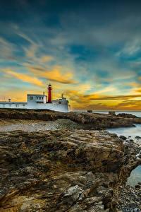 Bilder Portugal Landschaftsfotografie Küste Leuchtturm Himmel Sonnenaufgänge und Sonnenuntergänge Wolke Cabo Raso Cascais Natur