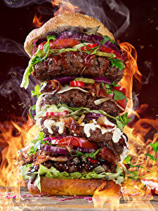 Wallpaper Fast food Hamburger Meat products Vegetables Flame